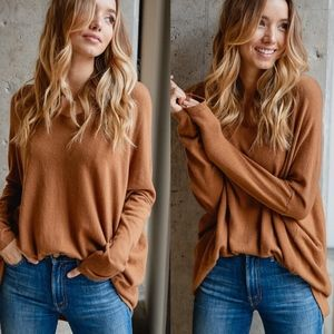 JOHNNY Softest Sweater Top - CAMEL